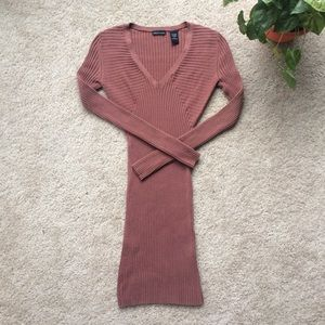 Rust Long Sleeve Stretchy Ribbed Bodycon Dress
